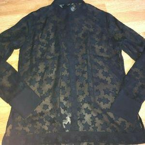 H&M Black Star Sheer Blouse Women's size 12 New
